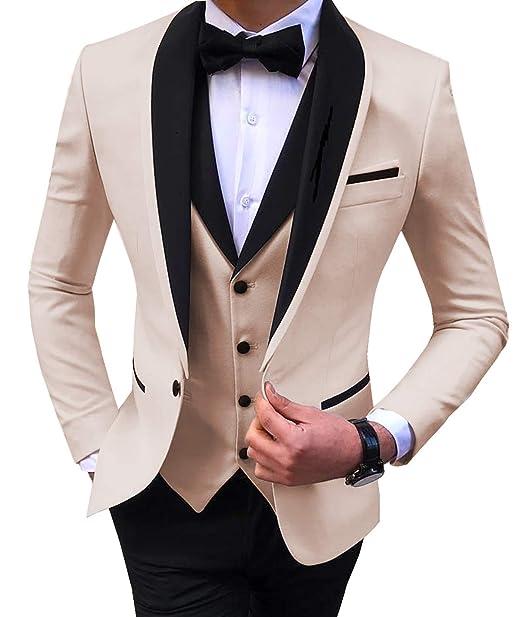 Aesido Men\u0027s Suit Formal 3 Pieces Slim Fit Shawl Lapel Solid Prom Tuxedos  Wedding Groomsmen (Blazer+Vest+Pants) 2019