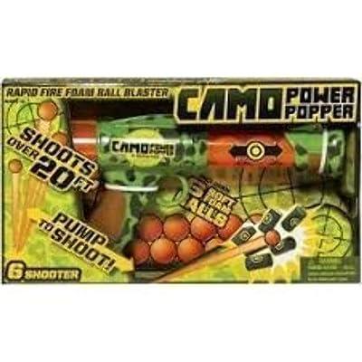 Hog Wild Camo Power Popper Six Shooter - Rapid Fire Foam Ball Blaster Gun - Shoots Up to 6 Foam Balls - Age 4+: Toys & Games