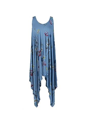 d6a528a124 New Ladies Italian Floral Sleeveless Summer Dress Women Lagenlook Dress  Plus Siz (Denim)  Amazon.co.uk  Clothing