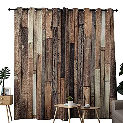 NUOMANAN Blackout Lined Curtains Wooden,Brown Old Hardwood Floor Plank Grunge Lodge Garage Loft Natural Rural Graphic Artsy Print,Brown,Thermal Insulated,Grommet Curtain Panel Set of 2