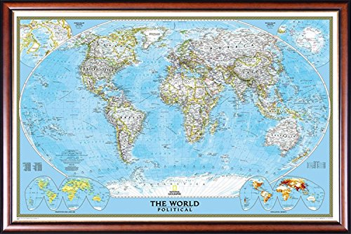 FRAMED National Geographic Classic World 24x36 Map Dry Mounted in Executive Series Walnut Wood Frame With Gold Lip - Crafted in USA