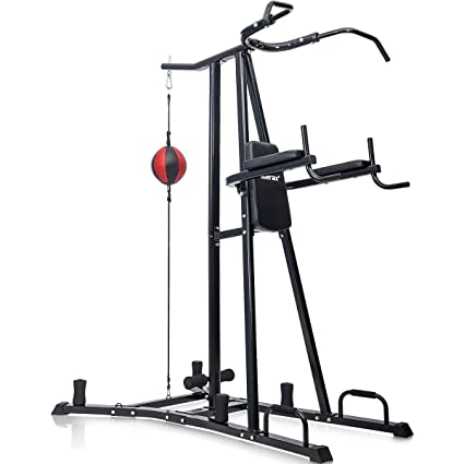 Merax Boxing Power Tower Combo Home Fitness Workout Station Folding Parallel Bars Bag