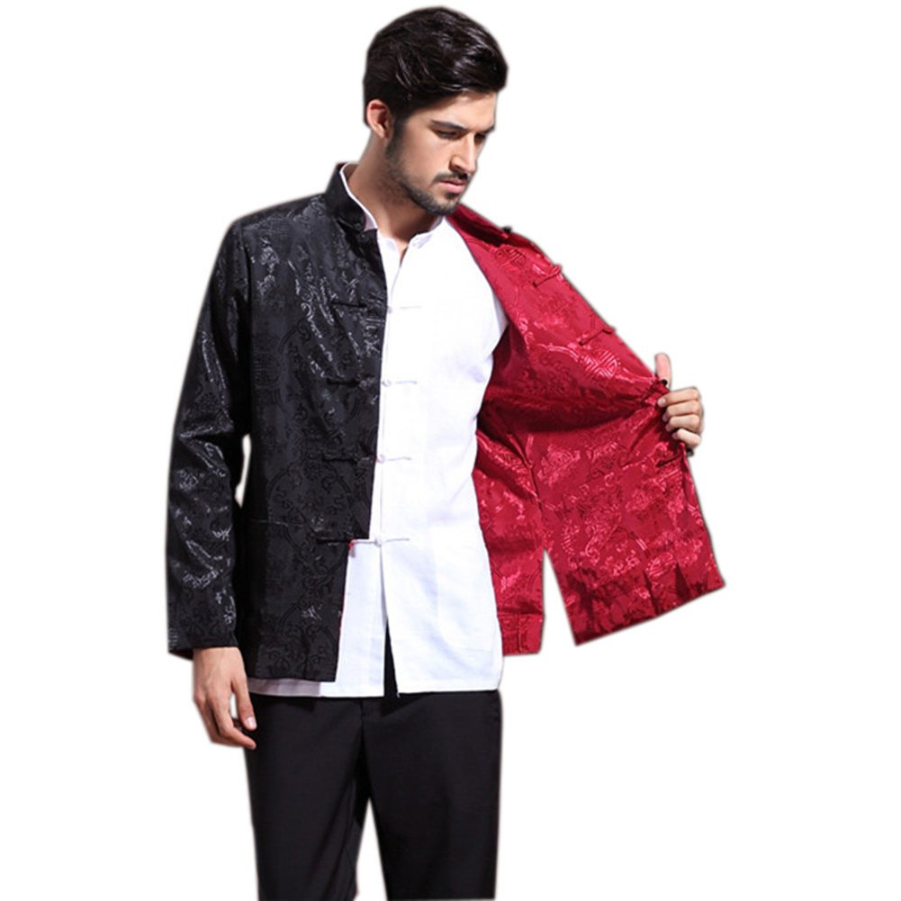 Mens Chinese Kung Fu Long Sleeve Silk Tang Jacket Double Sided Black Red Size L by Master J