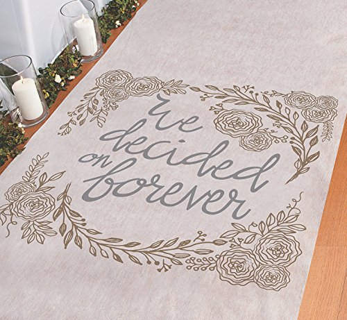 Fun Express Aisle Runner for Weddings - We Decided on Forever, Perfect for Indoor, Outdoor, Beach Weddings - Polyester 3