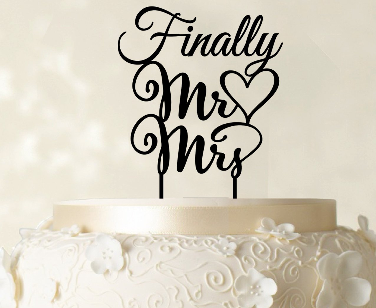 Amazon Finally Mr And Mrs Wedding Cake Topper Personalized Custom Name Toppers Color Option Available 5 7 Inches Wide Kitchen Dining