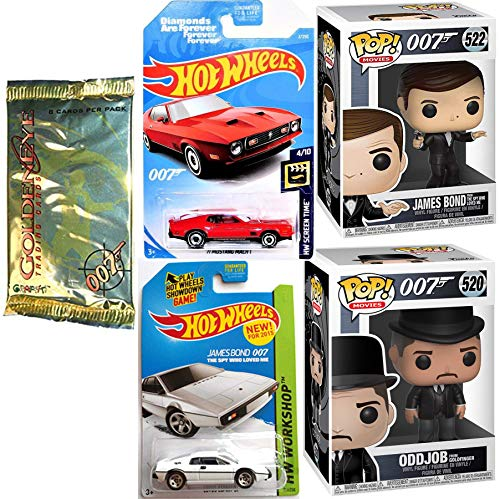Double Bond 007 Vinyl Pop Agent James Figure & Cars Spy who Loved me Character & Oddjob Goldfinger with Lotus S1 Bundled with Goldeneye Cards & Diamonds Forever Die-Cast Vehicle Collectibles 5 Items