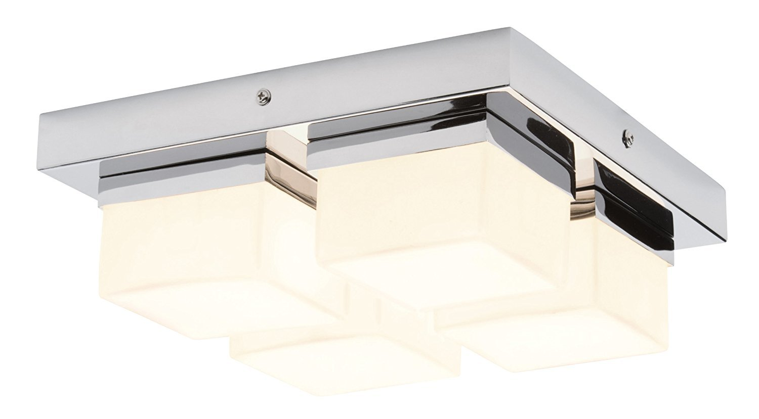Marco Tielle 4 Light Square Bathroom Ceiling Light In Chrome Finish With White Frosted Glass Square Shades IP44 Zone 2 Rated