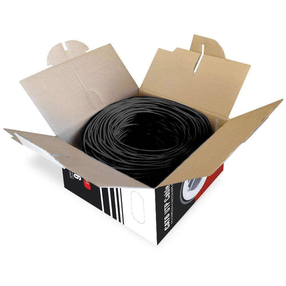 PE for Indoor//Outdoor Easy Pull Box Dripstone 500ft CAT6 Outdoor Direct Burial Solid Cable 23AWG Waterproof Wire HDPE Insulated Polyethylene