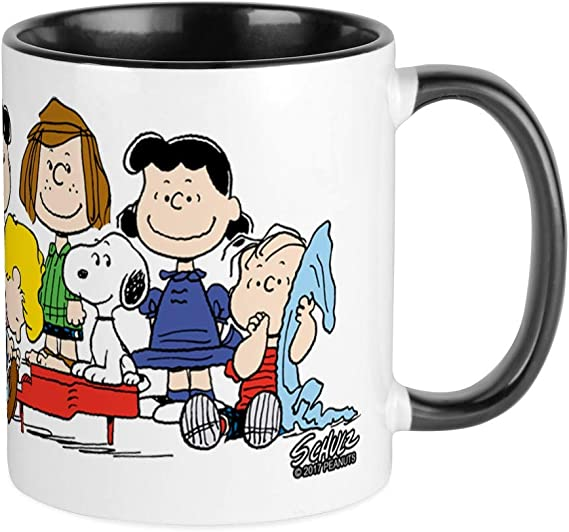 New PEANUTS SNOOPY 14oz Coffee Tea Mug Cup WHITE DOG Red Black LUCY Puppy Figure