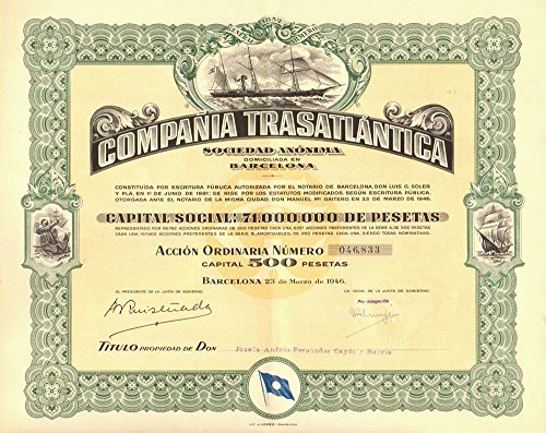 - 1946 ES HUGE RARE ORIGINAL BOND of LEGENDARY SHIP LINE LINKING COLONIAL CUBA and PUERTO RICO TO SPAIN! MINT CONDITION! A WORK OF ART! 500 PESETAS Choice Uncirculated