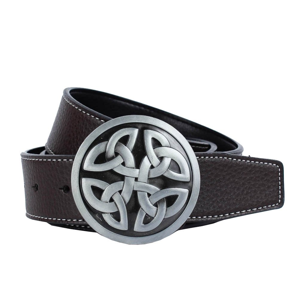 Fityle Western Cowboy Men's Adjustable PU Leather Belt with Celtic Knot Buckle (Dia.6.7cm/2.64inch)