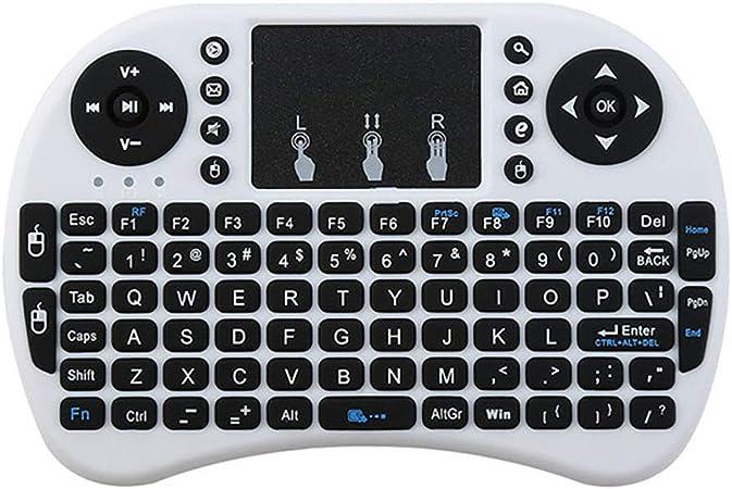 Ultra-delgado del mini teclado inalámbrico Panel táctil, todo-en-uno con el teclado sin hilos incorporado trackpad Multi-Touch para Smart TV HTPC Tablet PC portátil con Windows Google Android,Blanco: Amazon.es: Hogar