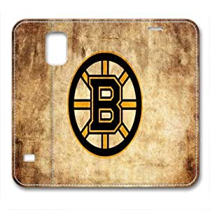 custom and diy for samsung galaxy S5 leather case NHL Boston Bruins logo brown background by nflgoshop