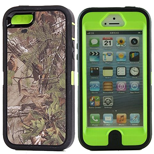 Kecko(TM)For iphone 5 Camo Case,Defender Series Realtree Camo Shockproof Impact Resistant Tough Armor Protective Camouflage Wood Design Rugged Case Cover with Built-in Screen Protector for iphone 5 Only--Orange/Green/Pink Tree Camo on the Core (i5--Forest Green)