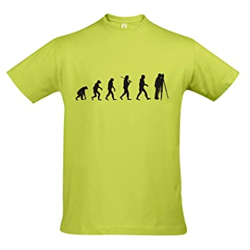 T-Shirt - EVOLUTION - Fotograf Vermessung FUN KULT SHIRT S-XXL , Apple