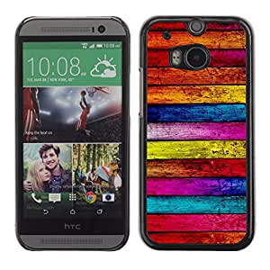 CaseCaptain Carcasa Funda Case - HTC One M8 / Cool Colorful Wood Pattern /