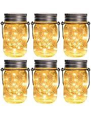 GIGALUMI - Juego de 6 luces colgantes para tarros solares