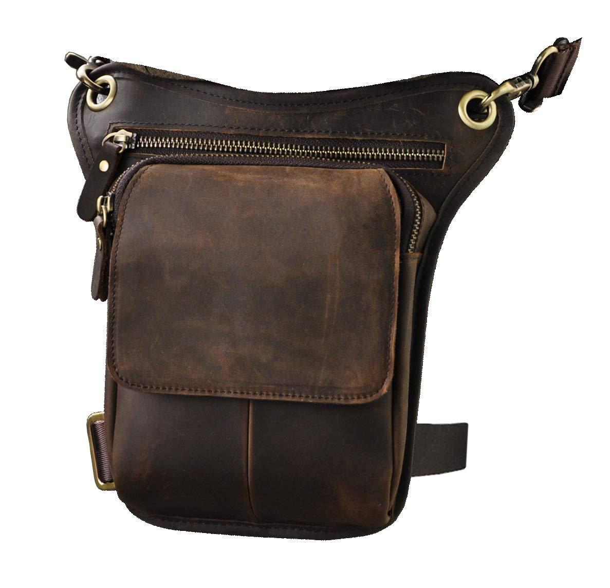 Mens Genuine Leather Messenger Riding Hip Bum Waist Pack Drop Leg Cross Over Bag