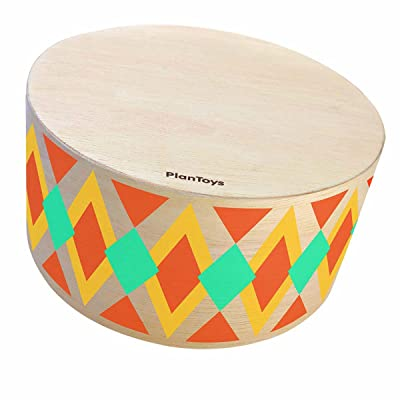 PlanToys Rhythm Box Musical Hand Drum (6423) | Sustainably Made from Rubberwood and Non-Toxic Paints and Dyes: Toys & Games
