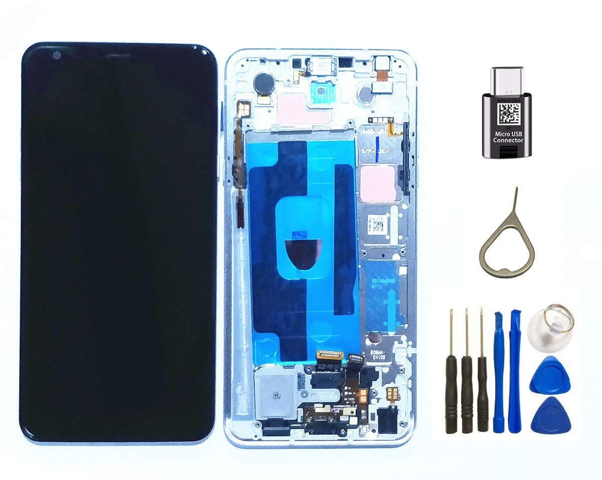 Stylo 5 LCD Assembly Replacement Display Touch Screen Digitizer Glass + Frame Key Parts for LG Stylo 5 Stylus 5 Q720 Q720CS/PS Q720MS/US LCD Assembly Replacement +Tape-C Adaptor Eject Pin (Sliver) by FXDTECH
