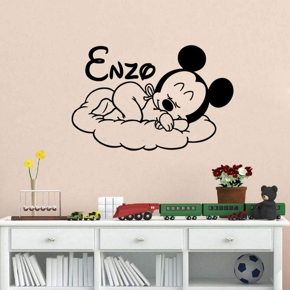 Stickers Muraux Bande Dessin/ée Cr/éative Nouveau Mickey Bonsoir Personnalis/é Enfants Nom B/éb/é Pour La Chambre Des Enfants D/écor /À La Maison