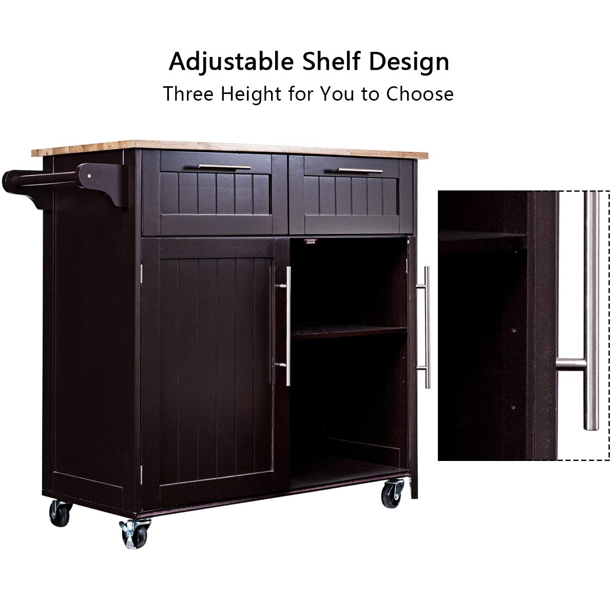 Giantex Kitchen Island Cart Rolling Storage Trolley Cart Home and Restaurant Serving Utility Cart with Drawers,Cabinet, Towel Rack and Wood Top by Giantex (Image #4)