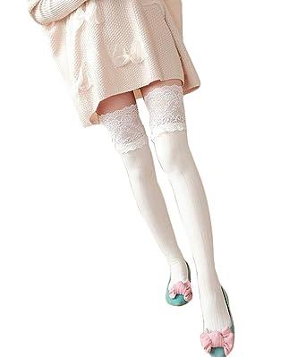 813da67675c Westeng Chaussettes Hautes Femme Chaussettes Haute Dentelle pour Femme Blanc