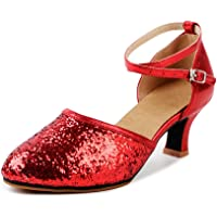 OCHENTA Women's Sequined Leather Pointed Toe Kitten Heel Latin Ballroom Dance Shoes