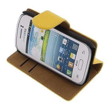 foto-kontor Funda para Samsung Galaxy Young 2 Estilo Libro Amarilla Protectora