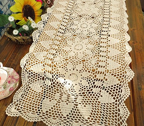 Rectangle HANDMADE Crochet Lace Tablecloth,Beige,16X63 Inch