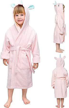 Twinzen Albornoz de Baño Unicornio Niño y Niña - Talla 1-12 Años (86-152 cm) - Bata Certificado Oeko-Tex® Sin Productos Químicos - 100% Algodón