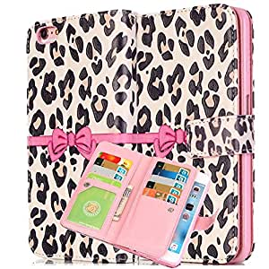 iphone 5C leopard case,New Fashion Leopard Pattern and 3D Bow Design Premium Folio Leather Case with Cover and Flip Stand for iPhone 5C, White