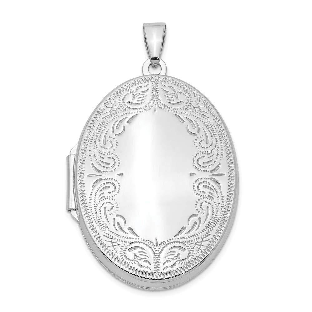 Mia Diamonds 925 Sterling Silver 31mm Oval Scroll Locket 31mm x 24mm