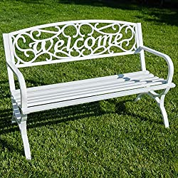 "Belleze Outdoor Park Bench 50"" inch Welcome Elegance Design Seat Backyard Steel Frame, White"