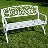 Belleze Outdoor Park Bench 50'' inch Welcome Elegance Design Seat Backyard Steel Frame, White