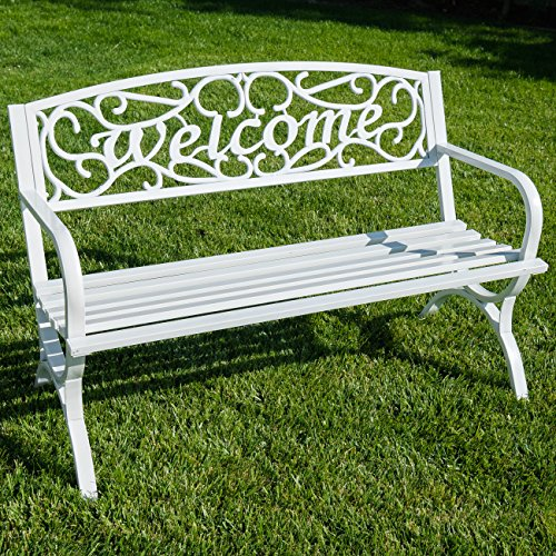 Belleze Outdoor Park Bench 50 inch Welcome Elegance Design Seat Backyard Steel Frame, White