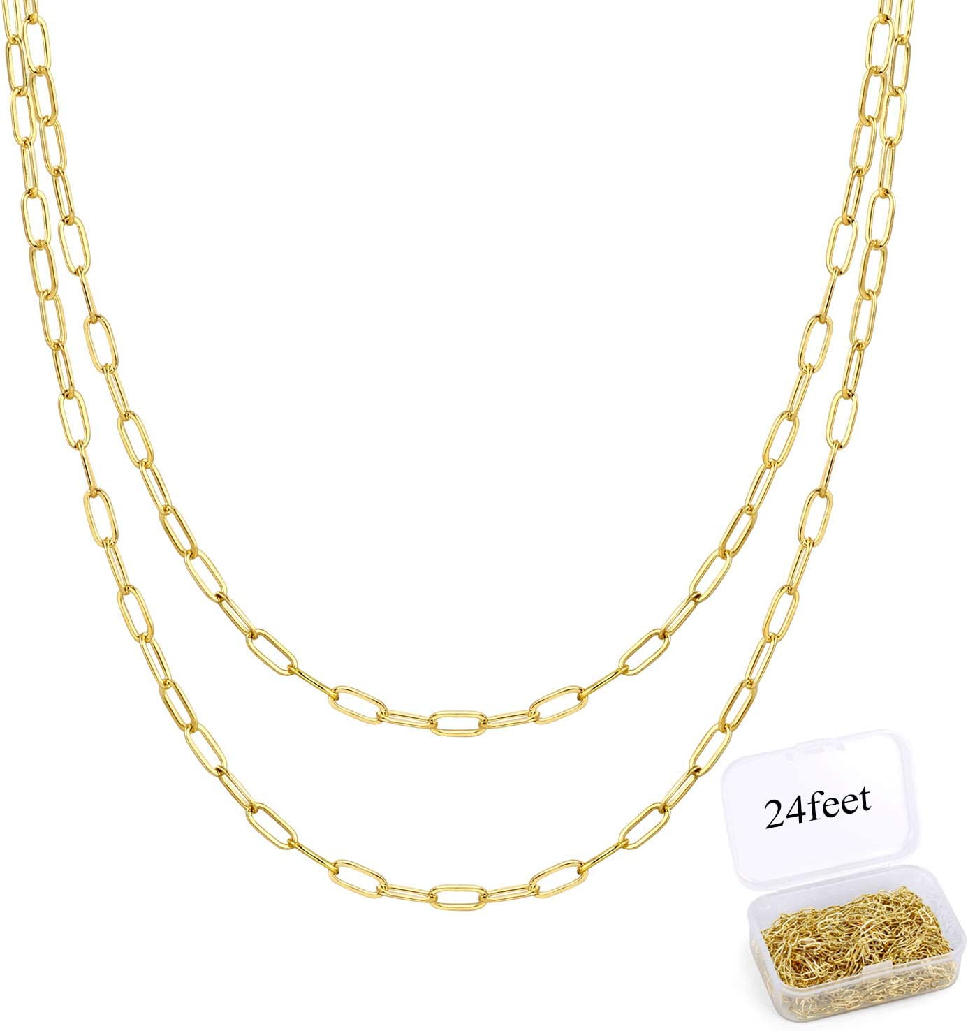 24 Feet Chains for Jewelry Making Stainless Steel Paperclip Chain Oval Link Chain Bulk for DIY Jewelry Necklace/…