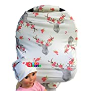 Rosy Kids Stretchy Infant Car Seat Canopy Cover, Jersey Car Seat Cover Elastic Nursing Scarf Privacy Cover with Matching Car Seat Handle Cover and Baby Hat, Color08JY05