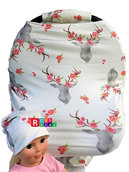 Rosy Kids Stretchy Infant Car Seat Canopy Cover Jersey Car Seat ...