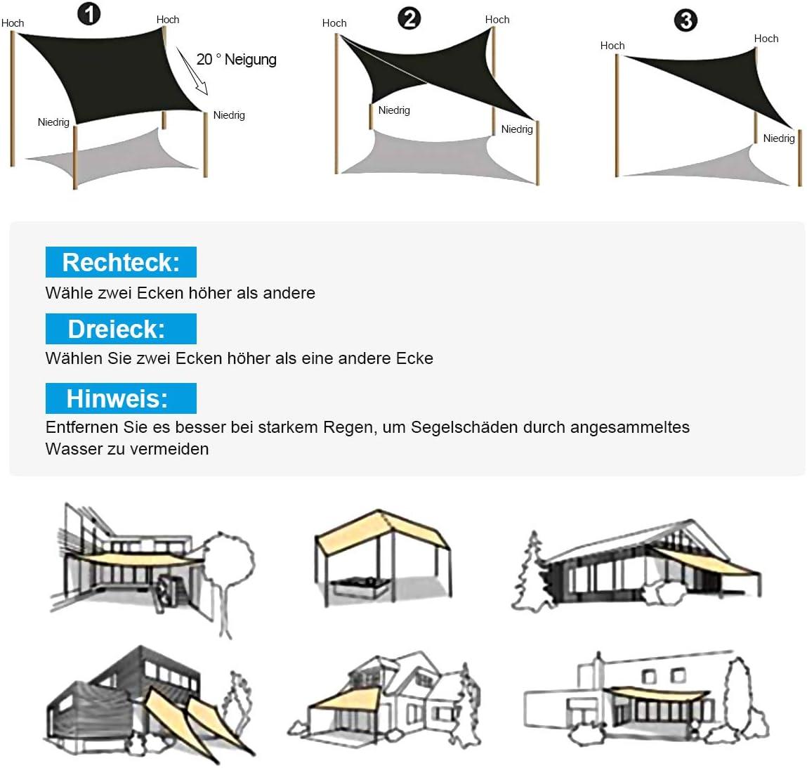 OKAWADACH Toldo Vela de Sombra Cuadrado 3 x 3 m, protección ...