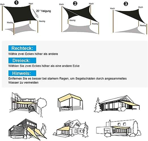 OKAWADACH Toldo Vela de Sombra Rectángulo 2 x 3m, Vela de Sombra Protección UV para Patio, Exteriores, Jardín, Color Beige