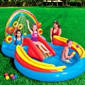 Kids Inflatable Pool. Small Kiddie Blow Up Above Ground Swimming Pool Is Great For Toddlers & Children To Have Outdoor Water Fun With Slide, Toys & Floats. This Rainbow Baby Swim Pool-Light & Portable
