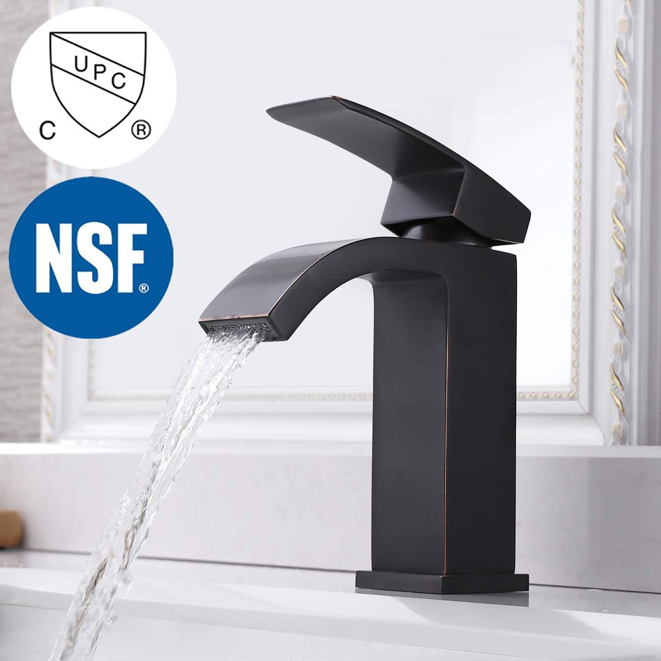 KES NSF Bathroom Waterfall Faucet Single Handle One Hole LavatoryBasin Vanity Sink Lead Free Brass cUPC Faucet Oil Rubbed Bronze, L3109ALF-ORB