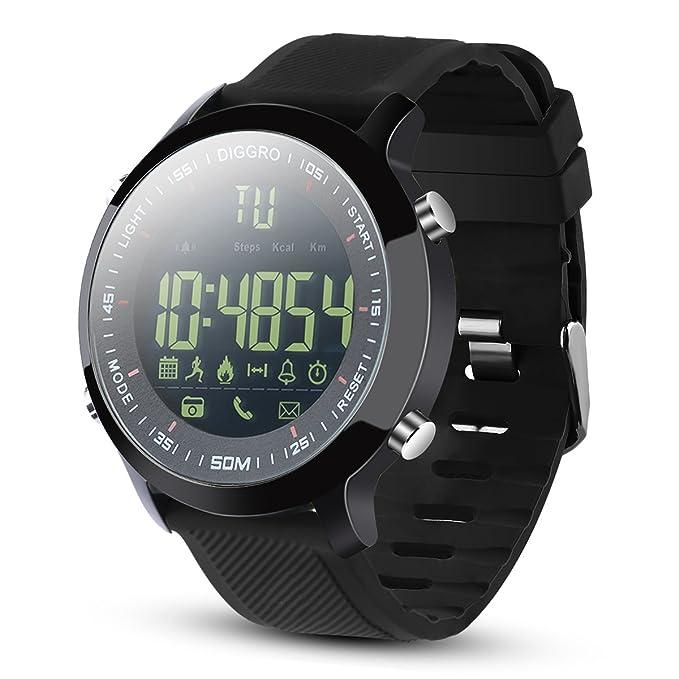 Diggro DI04 reloj inteligente IP68 impermeable Smartwatch 5ATM pedómetro mensaje recordatorio 8 meses de tiempo de espera larga al aire libre para ...