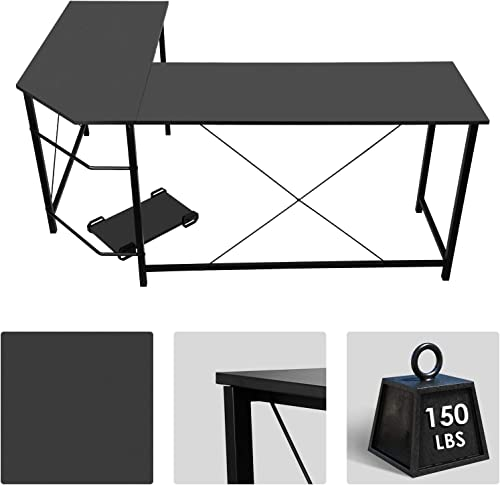 66 inch L Shaped Desk Corner Desk Computer Desk Gaming Desk Student Desk