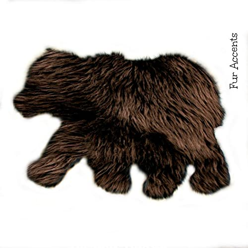 Plush Faux Fur Baby Bear Skin Sheepskin Shaggy Shag Accent Throw Rug Nursery Kids Room Play Toy Decor 30 x36 , Brown