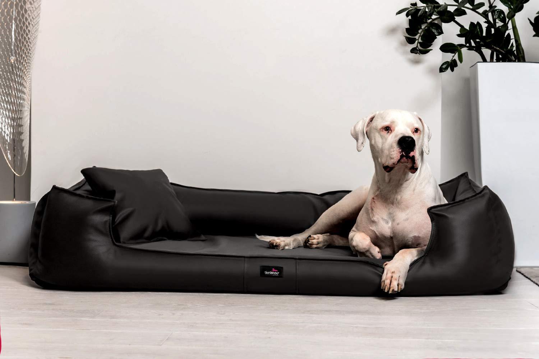 tierlando G6-L-03 Articulos ortopedicos Cama para perro GOOFY VISCO Anti- pelo Cuero artificial Sofá para perro Cuna para perro Talla XXL 150cm Negro Orto: ...