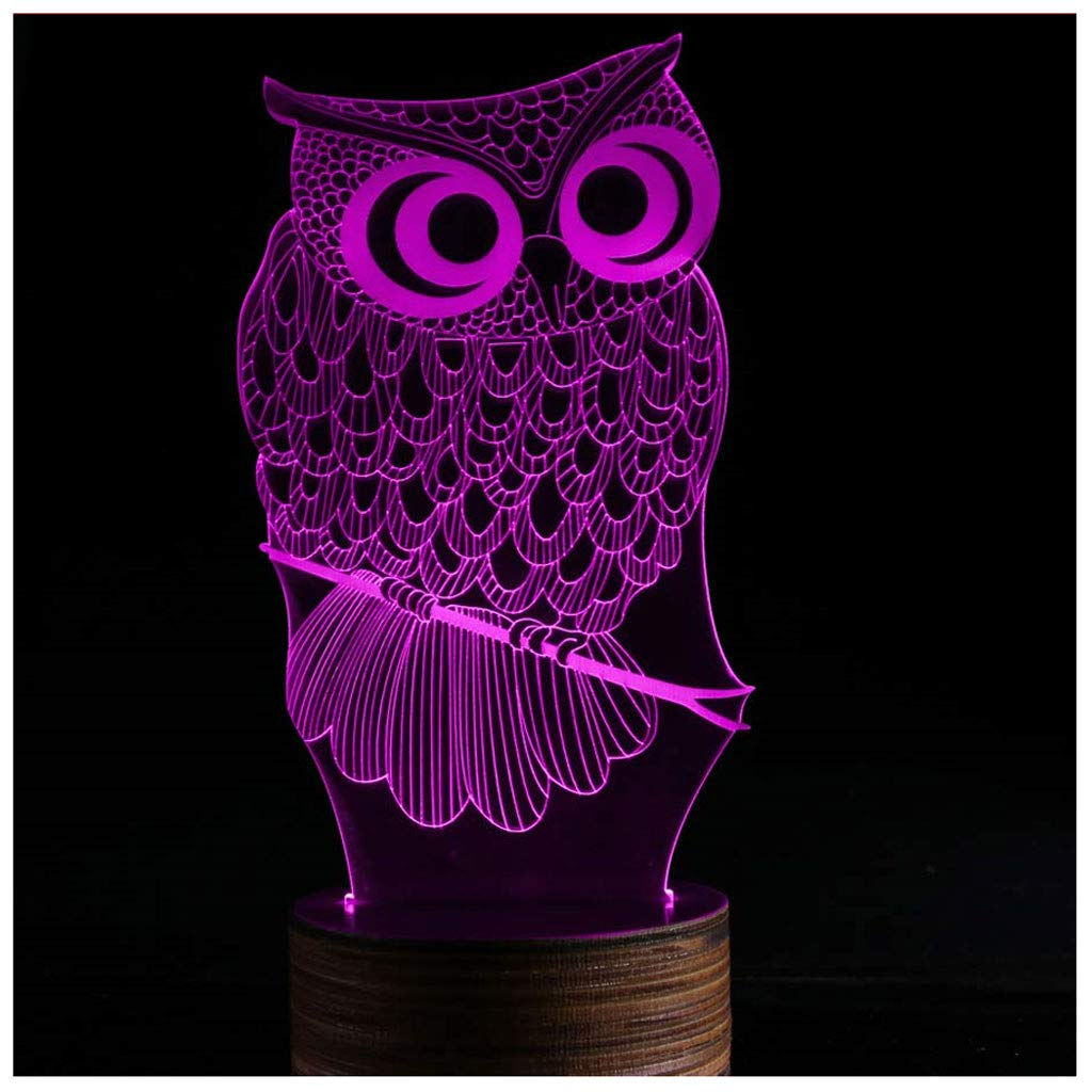 Novelty Lamp, 3D LED Lamp Optical Illusion Owl Night Light, USB Powered Remote Control Changes The Color of The Light, Furniture Desk Lamp Home Decoration Toy,Ambient Light