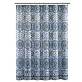 Blue and Yellow Shower Curtain Home Essence Blue/White / Yellow Shower Curtain - Taya Washable Shower Curtains for Bathroom - 72x72 Bath Curtain