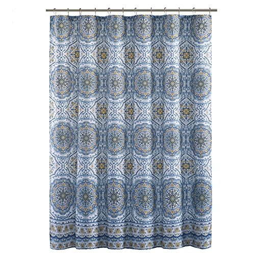Home Essence Blue/White / Yellow Shower Curtain - Taya Washable Shower Curtains for Bathroom - 72x72 Bath Curtain -
